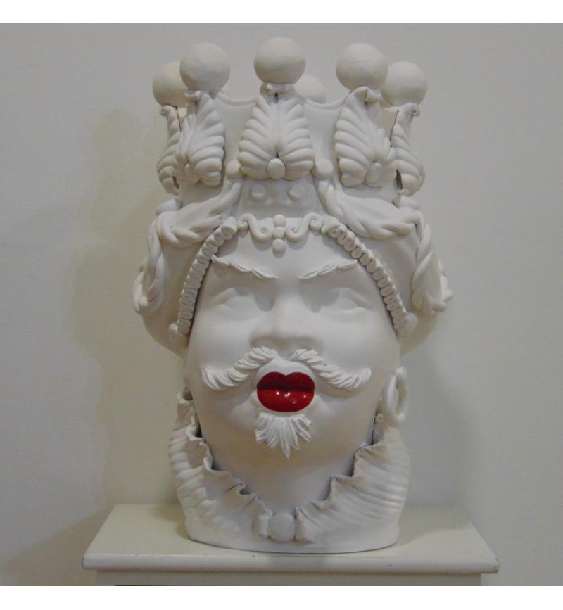 Testa Di Moro Ceramica Verus.Testa Di Moro Bianco Satinato Red Lips Verus Ceramiche